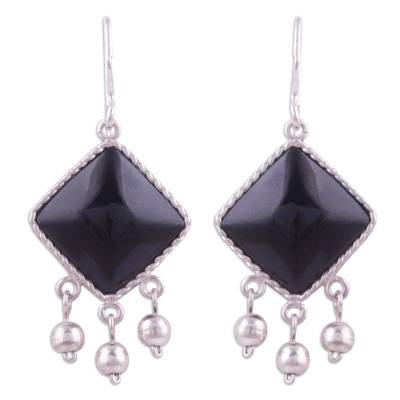Black Square Obsidian Dangle Earrings from Peru
