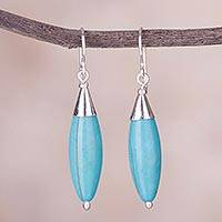 Sterling silver dangle earrings, 'Inca Queen' - Sterling Silver and Recon Turquoise Earrings from Peru