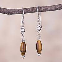 Tiger's eye dangle earrings, 'Valley of Wheat' - Tiger's Eye and Sterling Silver Dangle Earrings from Peru
