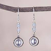 Opal dangle earrings, 'Gleaming Wheels' - Circular Opal and Silver Dangle Earrings from Peru