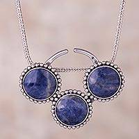 Sodalite pendant necklace, 'Planetary Trio' - Circular Sodalite and Silver Pendant Necklace from Peru