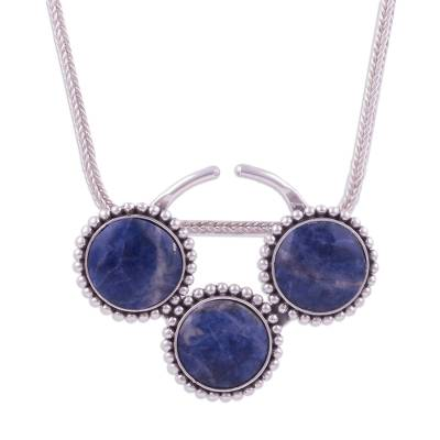 Circular Sodalite and Silver Pendant Necklace from Peru