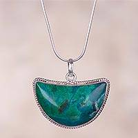 Chrysocolla pendant necklace, 'Blue-Green Crescent Moon' - Crescent Chrysocolla Long Pendant Necklace from Peru