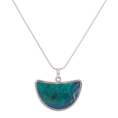 Crescent Chrysocolla Long Pendant Necklace from Peru