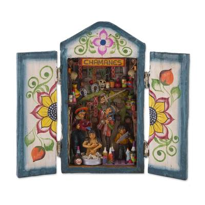 Wood retablo, 'Shamans' - Handcrafted Retablo Diorama of Peruvian Shamans