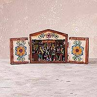Wood retablo, 'Dry Law Bar' - Hand Crafted Mohena Wood Retablo Cantina Scene from Peru