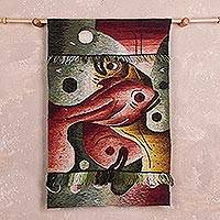 Alpaca blend tapestry, 'Yacumama, Mother of the Sea' - Alpaca Blend Tapestry of Three Fish and a Bountiful Sea