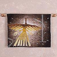 Alpaca blend tapestry, 'Nazca Hummingbird' - Golden Nazca Hummingbird Alpaca Blend Hand Crafted Tapestry