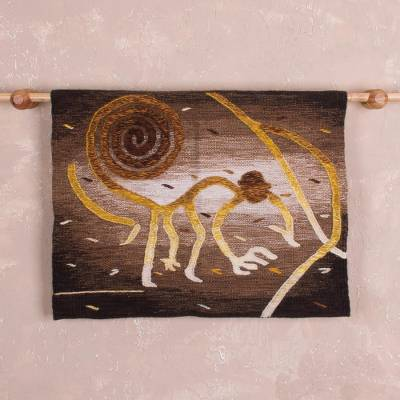 Alpaca blend tapestry, 'Monkey Mischief' - Golden Brown Nazca Monkey Alpaca Blend Tapestry