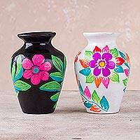 Ceramic mini decorative vases, 'Multicolored Enchantment' (pair) - Pair of Hand-Painted Floral Ceramic Vases from Peru