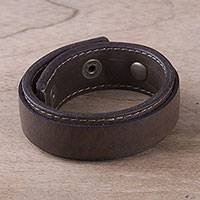 Men's leather wristband bracelet, 'Limitless' - Men's Brown Sheepskin Leather Wristband Bracelet from Peru