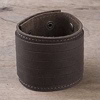 Men's leather wristband bracelet, 'Daring' - Peruvian Men's Brown Sheepskin Leather Wristband Bracelet