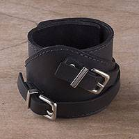 Leather wristband bracelet, 'Let's Rock' - Black Sheepskin Leather Wristband Bracelet from Peru