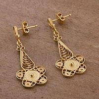 Gold plated sterling silver filigree dangle earrings, 'Queen of the Golden Flowers' - Floral Gold Plated Silver Filigree Earrings from Peru