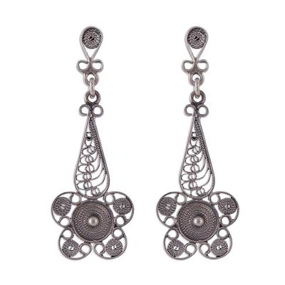 Sterling silver filigree dangle earrings, 'Queen of the Dark Flowers' - Floral Sterling Silver Filigree Earrings from Peru