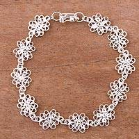 Sterling silver filigree link bracelet, 'Glistening Flowers' - Sterling Silver Filigree Link Bracelet from Peru