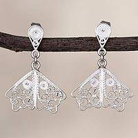 Sterling silver filigree dangle earrings, 'White Butterfly Wings' - Sterling Silver Filigree Dangle Earrings in White from Peru