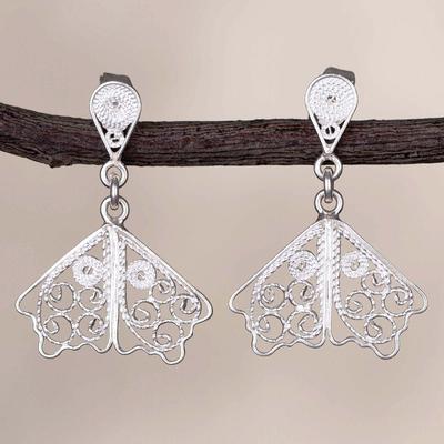 Novica Gold plated sterling silver filigree dangle earrings, Golden Butterfly Wings