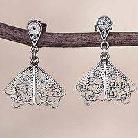 Sterling silver filigree dangle earrings, 'Dark Butterfly Wings'