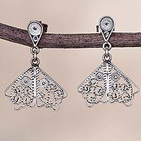 Sterling silver filigree dangle earrings, 'Dark Butterfly Wings'