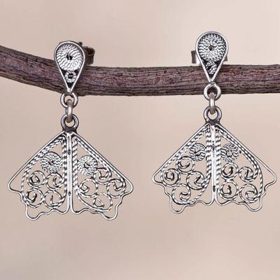 7378208bd Sterling silver filigree dangle earrings, 'Dark Butterfly Wings' - Sterling  Silver Filigree Dangle