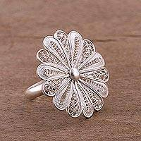 Sterling silver filigree cocktail ring, 'Sweet White Petals' - Sterling Silver Filigree Flower Cocktail Ring from Peru