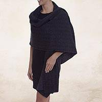Alpaca blend reversible shawl, 'Dream of Huancayo in Black' - Geometric Diamond Motif Alpaca Blend Knit Shawl in Black