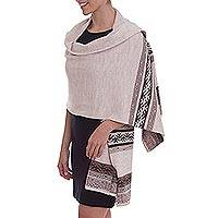 Alpaca blend shawl, 'Andean Spirit in Alabaster' - Ivory and Brown Alpaca Blend Knit Shawl from Peru