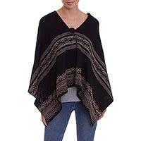 Alpaca blend ruana, 'Huancayo Festival' - Alpaca Blend Knit Ruana in Black with Taupe Peruvian Design