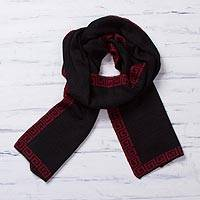 Alpaca blend reversible scarf, 'Incan Muse' - Red and Black Reversible Alpaca Blend Knit Scarf from Peru