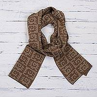 Alpaca blend scarf, 'Brown Paracas Shadows' - Tan and Ginger Brown Alpaca Blend Scarf