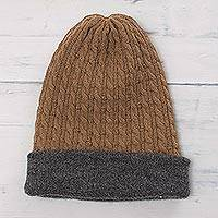 Men's reversible alpaca blend hat, 'The Bells of Huancayo' - Men's Reversible Grey and Brown Alpaca Blend Hat from Peru