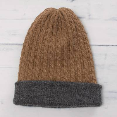 Men s Reversible Grey and Brown Alpaca Blend Hat from Peru - The ... a4300f9cc54