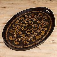 Leather tray, 'Colonial Symbol'