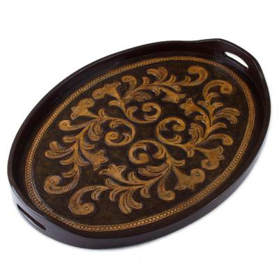 Leather tray, 'Colonial Symbol' - Handcrafted Oval Leather Tray from Peru