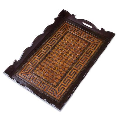 Leather tray, 'Inca Fortress' - Tray with Hand-Tooled Leather from Peru