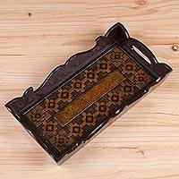 Leather tray, 'Viceregal Paradise' - Handcrafted Rectangular Leather Tray from Peru