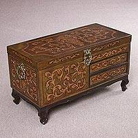 Mohena wood and leather decorative trunk, 'Medieval Swirls' - Handmade Mohena Wood and Leather Decorative Trunk from Peru