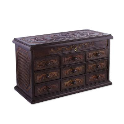 Cedar and leather jewelry box, 'Imperial Valley' - Handcrafted Cedar and Leather Jewelry Box from Peru