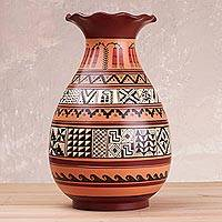 Ceramic decorative vase, 'Inca Intricacy' - Handcrafted Decorative Cuzco Vase with Inca Motifs from Peru