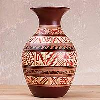Ceramic decorative vase, 'Fortress on the Shore' - Cuzco-Style Decorative Vase with Pyramid Motifs from Peru