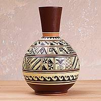 Decorative ceramic vase, 'Moche Lifestyle' - Ceramic Decorative Vase with Moche Icons from Peru