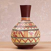 Ceramic decorative vase, 'Russet Pyramids' - Brown and Russet Inca Replica Decorative Vase from Peru