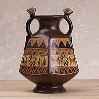 Decorative ceramic Cuzco vessel, 'Jaguar Guardians' - Decorative Cuzco Ceramic Art Vessel with Jaguar Handles