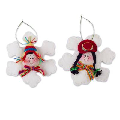 Handcrafted ornaments, 'Snow Cholitos' (pair) - Handcrafted Snowflake Ornaments (Pair) from Peru