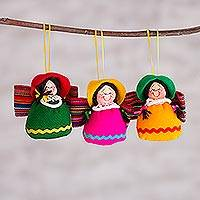 Handcrafted ornaments, 'Andean Angels' (set of 3) - Handcrafted Cultural Ornaments (Set of 3) from Peru