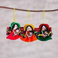 Handcrafted ornaments, 'Andean Mothers' (set of 3) - Set of Three Handcrafted Ornaments from Peru