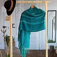 Baby alpaca blend shawl, 'Turquoise Waves' - Subtly Striped Turquoise Baby Alpaca Blend Hand Woven Shawl