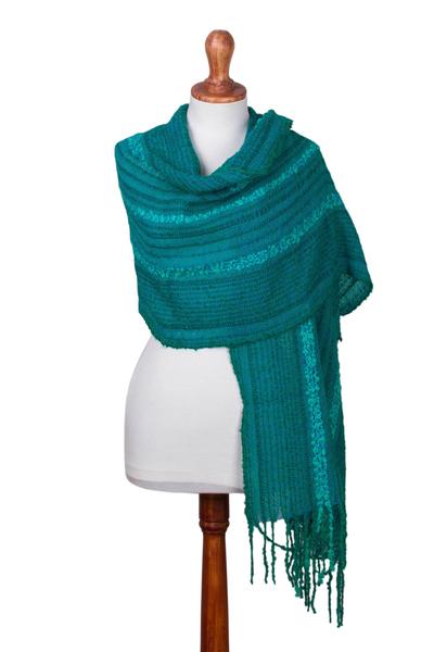 Baby alpaca blend shawl, 'Turquoise Waves' - Subtly Striped Turquoise Baby Alpaca Blend Hand Woven Shawl