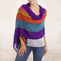 Baby alpaca blend shawl, 'Mountain Sunset' - Bold Multi-Color Striped Baby Alpaca Blend Hand Woven Shawl
